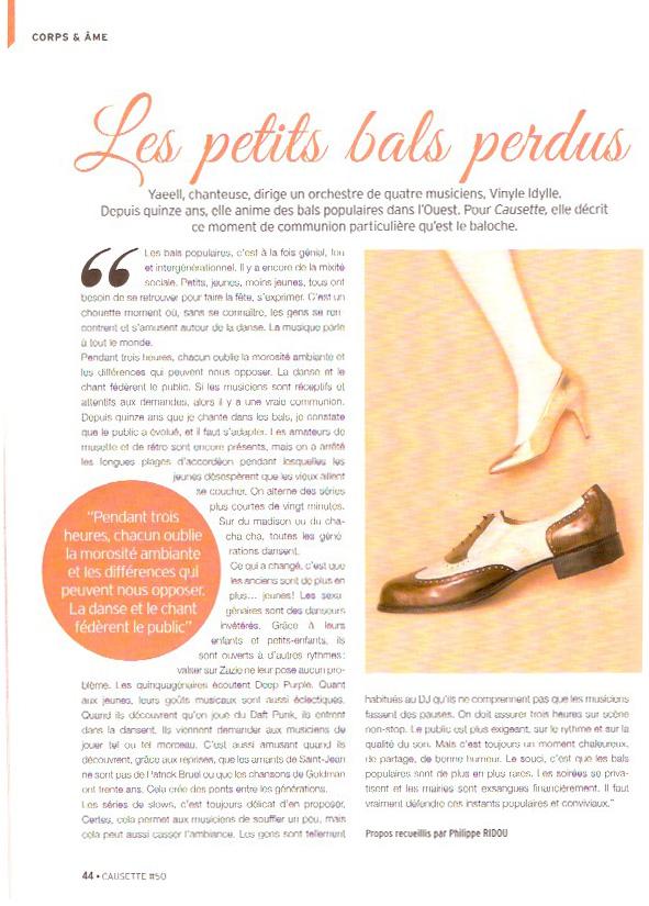 Article Les petits bals perdus Causette #50 novembre 2015